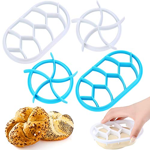 4 Pieces Bread Dough Press Mold Set Baking Bread Rolls Mold Plastic Pastry Cutters Round and Oval Shape DIY Bread Press Mold Set for Baking Supplies, White and Blue