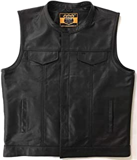ML986 - SOA Men's Leather Vest Anarchy Motorcycle Biker Club Concealed Carry Outlaws