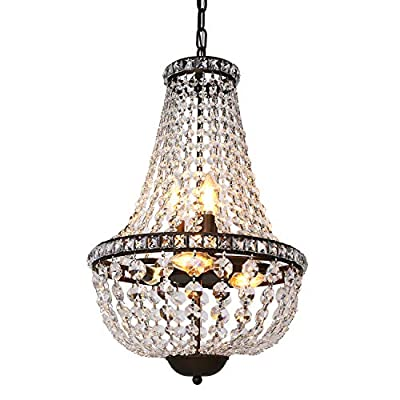 Hykolity 6-Light Crystal Chandelier Pendant Light, 13.5 inch French Empire Ceiling Light Fixture Farmhouse Antique Bronze for Dining Room, Living Room and Bedroom
