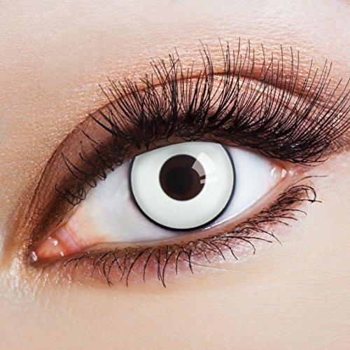 aricona Kontaktlinsen - weiße Kontaktlinsen mit schwarzem Rand - farbige Kontaktlinsen ohne Stärke für dein Halloween Kostüm