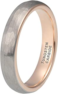 iTungsten 4mm 6mm 8mm Silver/Black/Rose Gold Hammered Tungsten Rings for Men Women Wedding Bands Galaxy Opal Stone Inlay Matte Finish Comfort Fit