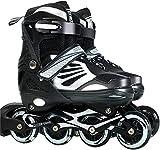 VOMI Inline Skates Beginner Sports Roller Skates Family Outdoors Rollerskates Aluminum Alloy Bracket ABEC 7 Quiet Bearing Roller Blades for 6-34 Old Kids Adult Boys Teens Women (Black,Large 37~41)