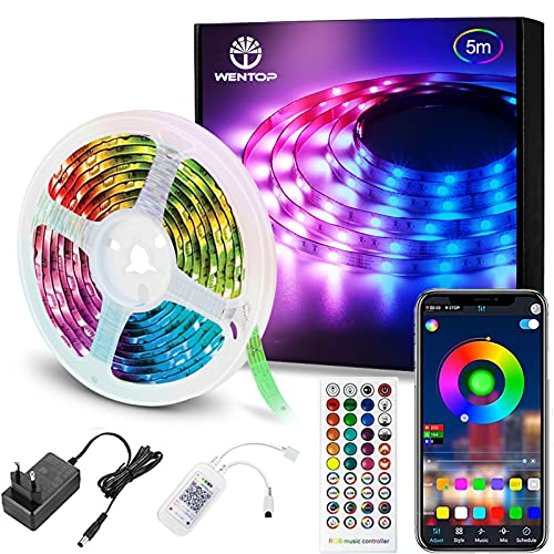 WenTop Striscia LED Smart, 5m Strisce LEDs Bluetooth Musicale 5050, App Controllato, Funzione di Temporizzazione On/Off, Strip LED RGB Adesive per TV, Decorazioni, Cucina, Bar, Festa[Classe A+++]
