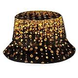 Golden Glitter Diamond Unisex Bucket Hat Fisherman Hat Packable Casual Travel Beach Sun Hats.