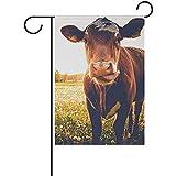 GWrix Gartendekoration Flagge,Garten Banner,Gartenflaggen,Haus Hof Flagge,Glückliche Kühe Auf Der Wiese Bei Sonnenuntergang 45.7X32Cm,Dekorative Willkommene Flagge,Hauptdekor-Fahne