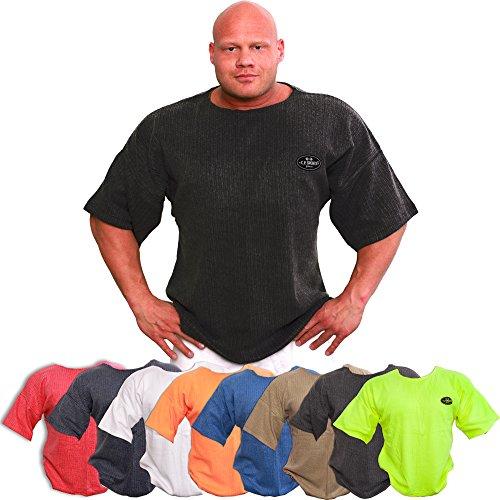 C.P. Sports, T-shirt da uomo per body building, fitness, tempo libero, sport, ideale per l'allenamento in palestra. Colori: nero, rosa, grigio chiaro, grigio scuro, giallo fluo, rosso, azzurro, arancione, Blu, M