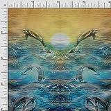 Soimoi Baumwoll-Popeline Fabric Meer Platte Print Sewing
