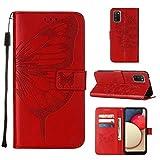 WJMWF Compatible con Funda Samsung Galaxy A02S Mariposa Volador Patrón en Relieve PU Cuero Wallet Caso [Cierres Magnéticos] [Ranuras para Tarjetas] [Soporte Plegable] Anti-Shock Cáscara-Rojo