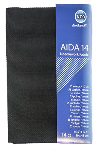 RTO Aida Zählstoff, 14, aus Baumwolle, schwarz, 39 x 45 cm