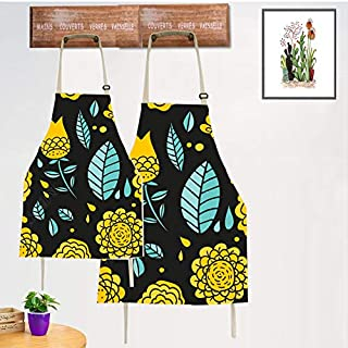 HILLHOME 2 Pack Cotton Linen Parent and Child Apron, Lovely Adjustable Floral Apron Great Gift for Adult and Kid, Cooking,Baking,Painting, Gardening Mommy and Me Matching Set (Black)