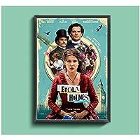 Weuewq エノーラホームズ映画ポスターキャンバス絵画背景壁アート写真装飾リビングルームホームギフト-20X28インチフレームなし