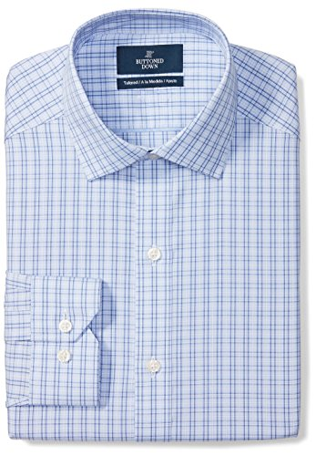 """BUTTONED DOWN Men's Tailored Fit Spread-Collar Pattern Non-Iron Dress Shirt, Mini Blue Glen Plaid, 18"""" Neck 34"""" Sleeve (Big and Tall)"""