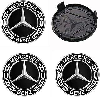 x4 Cappucci Tappi Logo Mercedes Nero Foglia Alloro Pneumatici Cerchi In Lega Auto