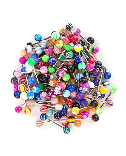 JFORYOU 100Pcs 14G Tongue Nipple Bar Stainless Steel Nipple Tongue Piercing Assorted Candy Color Barbells Body Piercing Jewelry