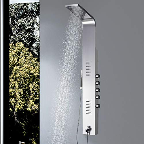 Vantory Shower Panel #304 Stainless Steel Wall Mount Multi-Function Tower Massage Systerm