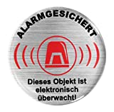 BIKE-label 900025 3D Aufkleber Alu Optik Warnhinweis Alarmgesichert Objekt überwacht 50 mm
