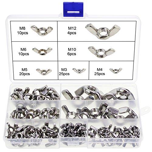 HSeaMall 100 STÜCKE Flügelmuttern Edelstahl M3 M4 M5 M6 M8 M10 Schmetterling Flügelmuttern Sortiment Kit Für DIY Tools