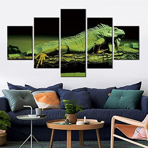GUANGWEI 5 HD Lienzo sobre Lienzo Camaleón Verde En Árbol Sala De Estar Dormitorio Decoración Creación Murales Y Carteles con Marco 150 × 80 Cm