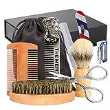 Kit Barba Cuidado Para Hombres, Achort Set Herramientas de Aseo y Cepillo, Peine, Tijeras, Mejores Regalos para Lui