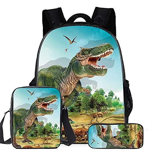 ZBK Juego de bolsas escolares con diseño de dinosaurios, mochila para portátil con bolsa de hombro y estuche para lápices para niños y niñas, 7 colores