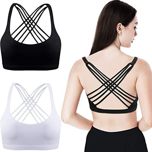 2 Packungen Damen Gepolstert Sport BH Kreuz Rücken BH Workout Riemchen BH Nahtlose Bequeme Yoga BH (S, Schwarz und Weiß)