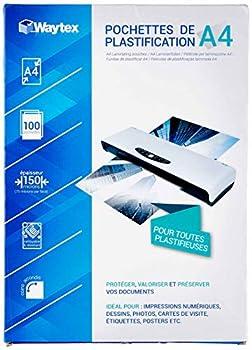 Waytex 78273 Pack de 100 Feuilles de plastification 75 microns 21 x 29.7, Transparent, A4