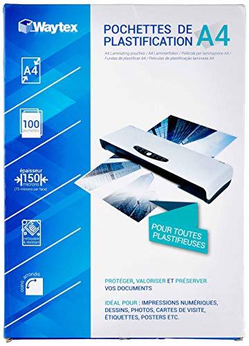 WAYTEX 78273 - Pack de 100 Hojas de plastificación A4, 75 micras, Unisex, Transparente, FR única (Talla del Fabricante: 21 x 29,7 cm)