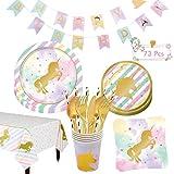 Hongfago Set de fiesta de cumpleaños con unicornio, 73 piezas, para niñas, con platos, vasos, para 6 niños, regalo de cumpleaños, decoración de fiestas, baby shower
