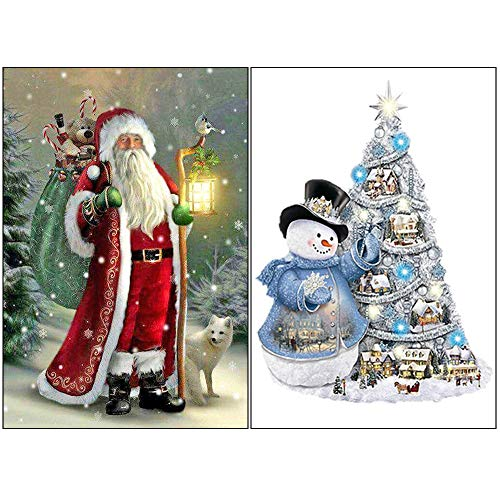 "2 Pack 5D Full Drill Christmas Diamond Painting Kit,5D Diamond Painting Santa Claus Embroidery and Christmas Snowman Full Drill DIY Art Cross Stitch Xmas Home Decor (12"" x 16"")"