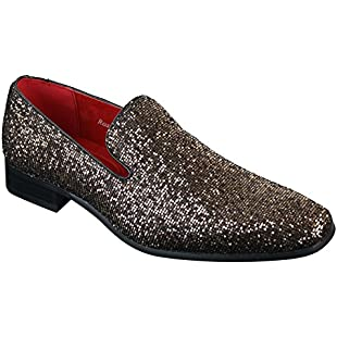 Rossellini Mens Shiny Silver Gold Black Slip On Glitter Shoes Party Smart Patent Leather:Schedulingsoftware