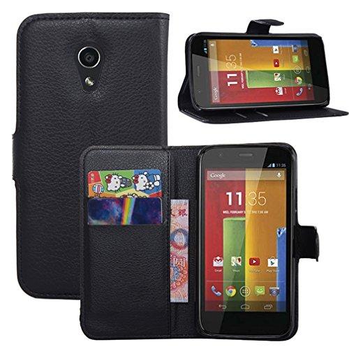 Hualubro - Carcasa para Motorola Moto G 2 nd Gen (función atril) [todo alrededor protección] Premium piel sintética con tapa para teléfono móvil con ranura para tarjeta para Motorola Moto G de segunda generación (G2) 2014 Smartphone, Mujer, Negro