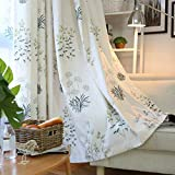 SUOUO Floral Print Curtains for Kitchen,Bedroom,Living Room,Dining Room,Light Filtering Green Botanical Curtain(52 x 84 Inch Length 2 Panels Set)