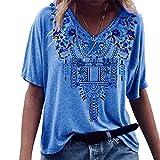 PRJN Camisas de túnica con Estampado Floral para Mujer Blusa Informal de Manga Corta con Cuello en V Blusa Informal con Cuello en V para Mujer, Camisa de Manga Corta de Verano Estampada Tops