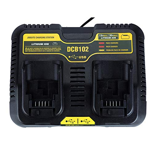 Caricatore doppio USB 3.0 A per batteria agli ioni di litio DCB102 per DeWalt 10.8V-20V CB112/DCB107/DCB118/DCB101/DCB115/DCB205-2 DCB206-2 DCB204 DCB203 DCB60606060603 - 2 DCBA. 609-2.
