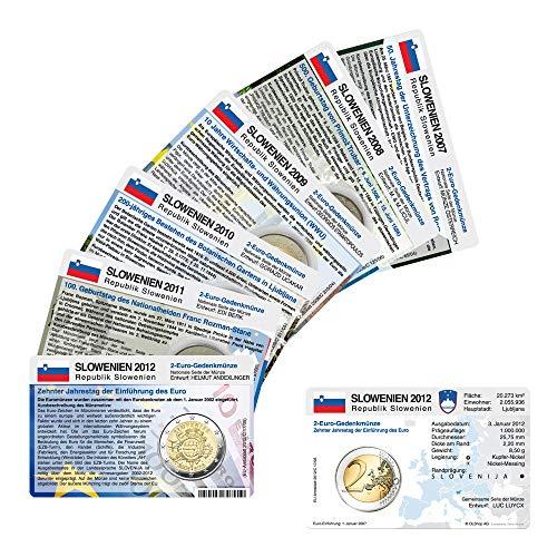 Set - 7 Münzkarten (ohne Münze) Slowenien für 2-Euro Gedenkmünzen 2007 bis 2013 Größe einer Münzkarte: ca. 86 mm x 54 mm