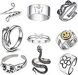 9 Stück Silber verstellbare offene Ringe Set, Angst Ring Frosch Ring Schmetterling Paar Ringe Weinendes Gesicht Ring Umarmung, Schlangen Ring Set Vintage Stapelbare Fingerringe Set