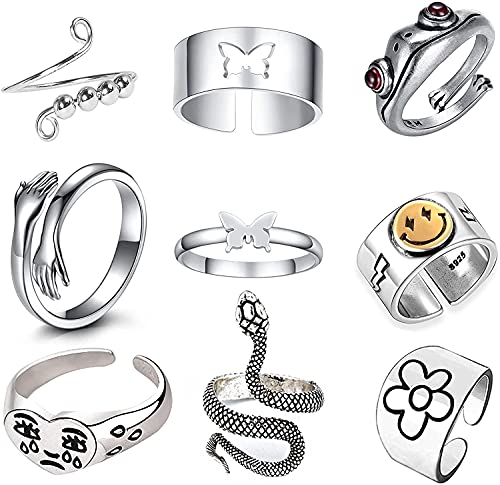 9Pcs Silver Adjustable Open Ring...