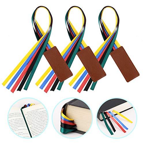 MWOOT 3 Pezzi Segnalibro a Nastro,Bibbia Ribbon Leather Bookmark,Marcatori Segnalibri in Pelle Artificiale con 5 Nastri Colorati per Libri
