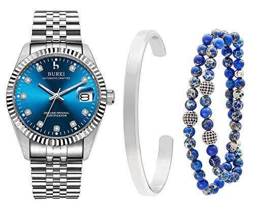 BUREI Herren Automatikuhren Datumsanzeige Edelstahlband und Silber Armreif Set, 6MM Perlen Armbänder für Herren Damen