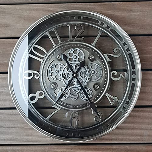 INFINITY TIME Moving Gear Wall Clock, Exposed Cog Vintage Industrial Steampunk Oversized Metal Skeleton Wall Clock,Rustic Brushed Chrome,Arabic Numbers(21Inch)