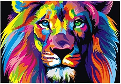 """Surfilter Druck auf Leinwand Aquarell Löwe Wandkunst Leinwand Abstrakte Tiere Lion Pop Graffiti Kunst Gemälde an der Wand Cuadros Bild für Babyzimmer Dekor 27.5& rdquo; x 39.4""""(70x100cm) Kein Ra"""