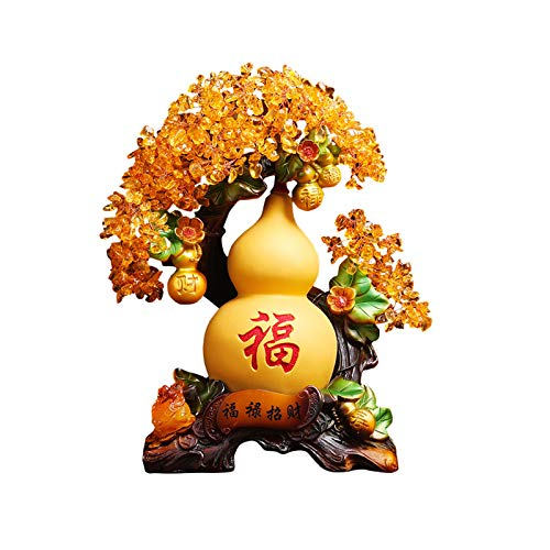 NYKK Desktop Decoration Fu Lu Lucky Gourd Crystal Fortune Tree Wu Lou Decoration Living Room Wine Cabinet Home Decoration Office Opening Gift Desktop Ornaments
