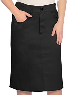 Kosher Casual Big Girl's Modest Knee Length Lightweight Cotton Stretch Twill Pencil Skirt