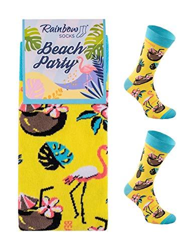 Rainbow Socks - Hombre Mujer Divertidos Altos Calcetines Party - 1 Pares - Flamingo - Talla 36-40