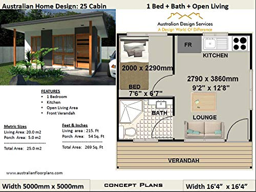 Amazon Com Small Cabin House Plan 25 Cabin 25 M2 269 Sq Foot 1 Bedroom Cabin Guest House Plans Small Cabins Full Architectural Concept House Plans Includes And Elevation