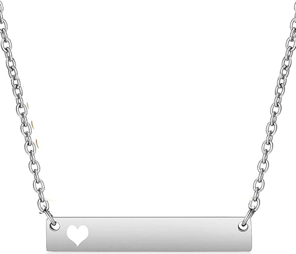 Jude Jewelers Stainless Steel Horizontal Bar Heart Charm Statement Promise Collar Choker Necklace