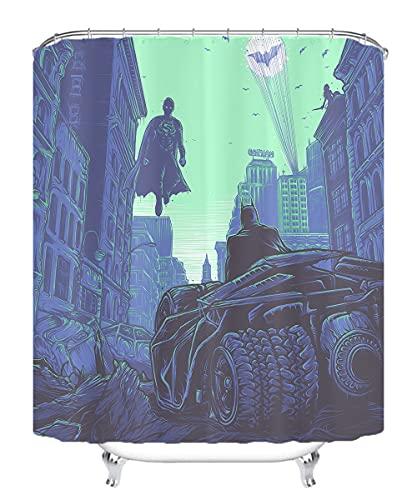 YITUOMO Nationalheld Batman Duschvorhang 3D Matte Wasserdichter Schimmel Duschvorhang Umweltfre&lich Waschbar Anime Charaktere 180x200cm