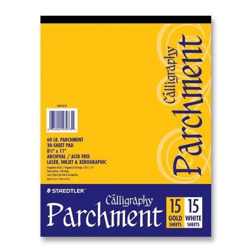 Staedtler- Inc. STD945P811P Calligraphy Parchment Paper- 60lb- Letter- 15 Gold-15 White (1, A)