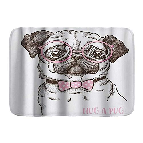 SUPERQIAO Bath Mat Bathroom Rugs,Hug a Pug Puppy Phrase Portrait of Innocent Dog Wea Pink Glasses Funny,Plush Bathroom Decor Mats with Non Slip Backing