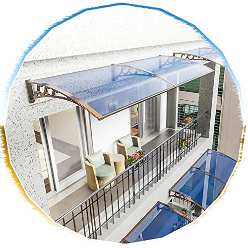 """Marquesina para Puertas y Ventanas Azul Lago Moderno/Soporte de Aluminio Champán,60/100/190/230/290/450cm,Tejadillo de Protección Aleros Jardín al Aire Libre Dosel de Techo (60x60cm/24""""x24"""")"""